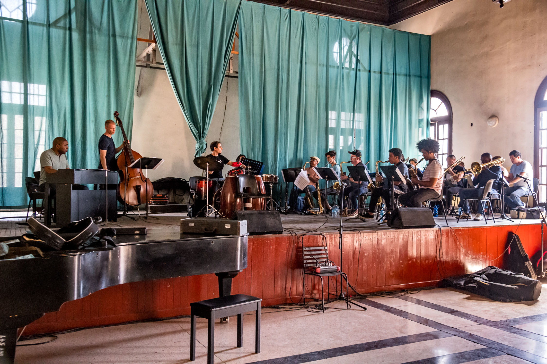 Dafnis Prieto Big Band rehearsal at Amadeo Roldan Conservatory, Havana, Cuba, January 2019 (Photo by David Garten)