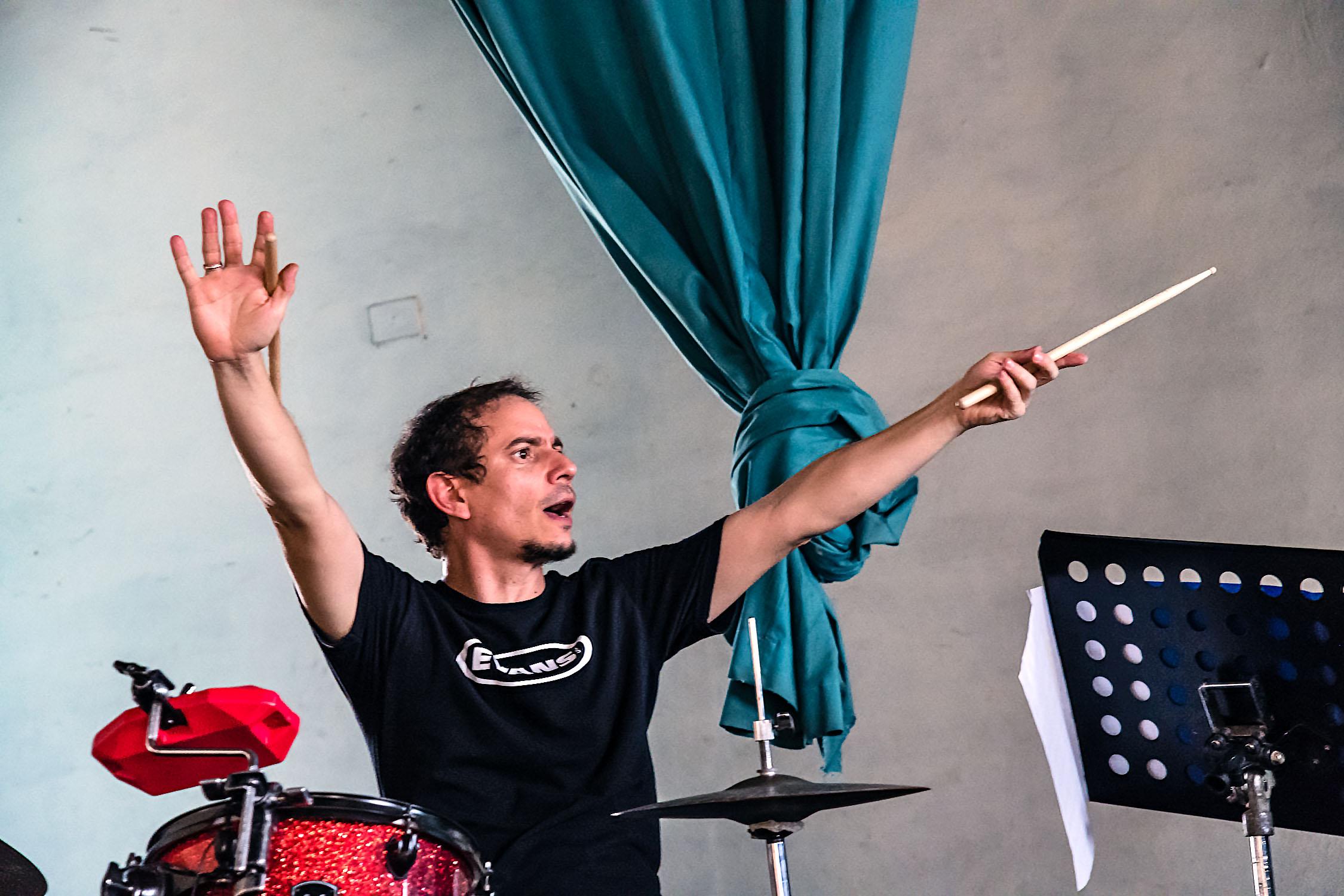 Dafnis Prieto at Dafnis Prieto Big Band rehearsal at Amadeo Roldan Conservatory, Havana, Cuba, January 2019 (Photo by David Garten)