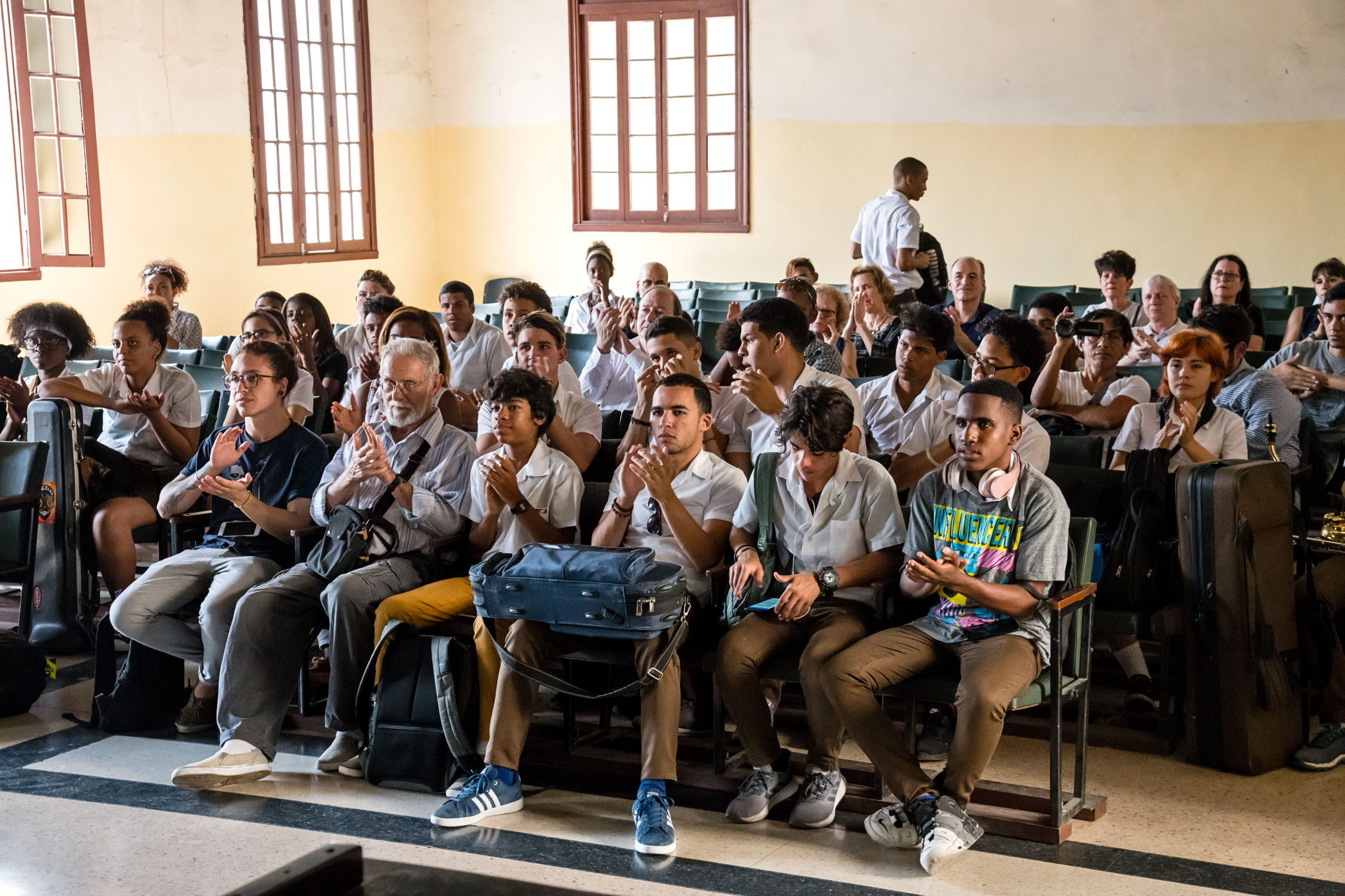 Amadeo Roldan Conservatory students at Dafnis Prieto Sextet master class, Havana, Cuba, January 2019 (Photo by David Garten)