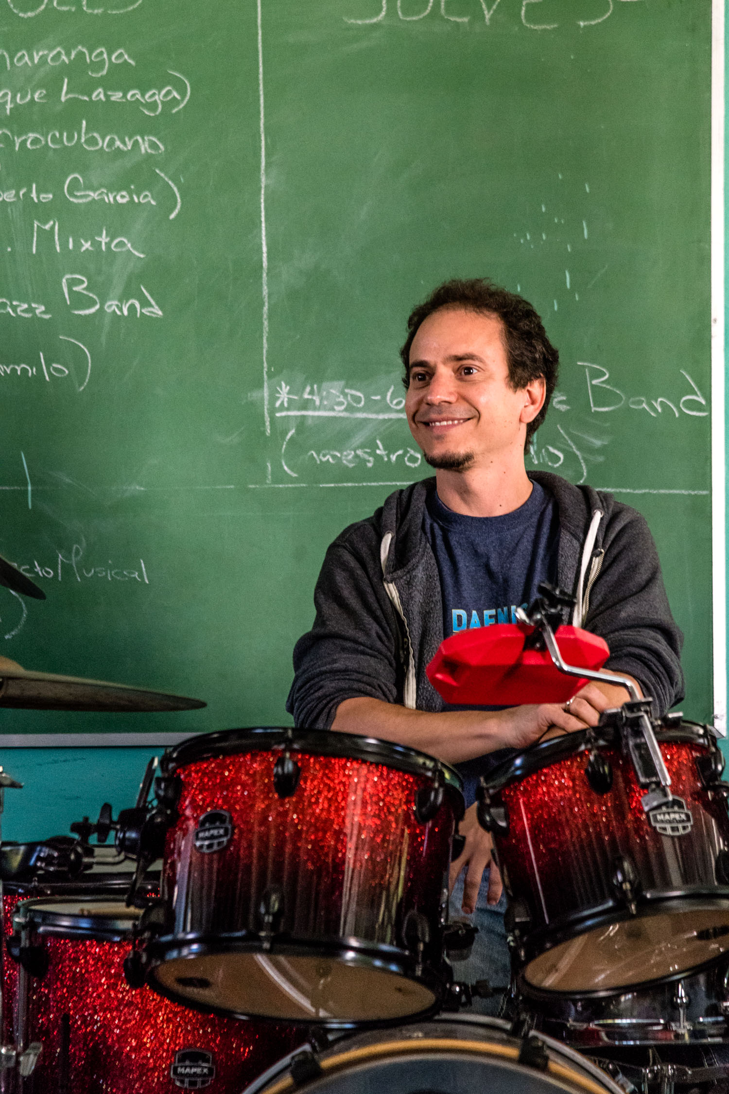 Dafnis Prieto teaching at Escuela Nacional de Arte (La ENA), Havana, Cuba, January 2019 (Photo by David Garten)