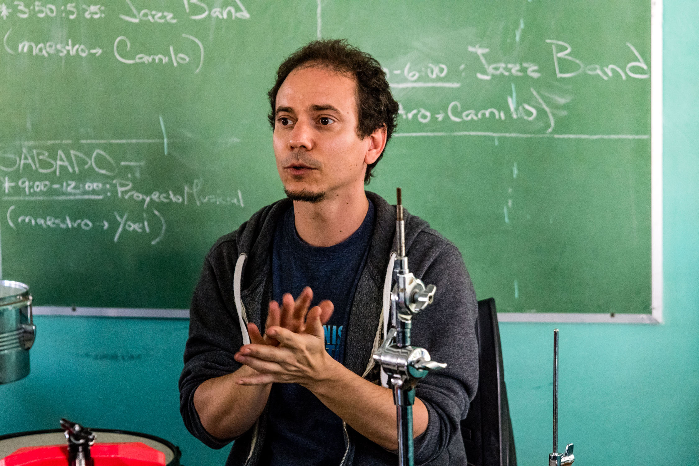 Dafnis Prieto teaching at Escuela Nacional de Arte (La ENA), Havana, Cuba, January 2019 (Photo by David Garten)