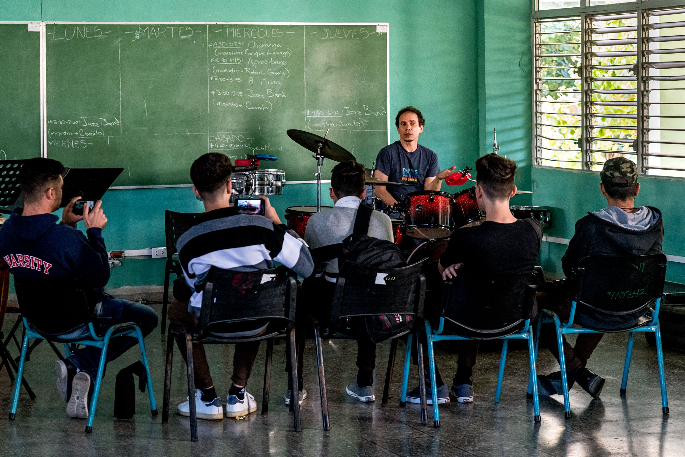 Dafnis Prieto teaching percussion students at Escuela Nacional de Arte (La ENA), Havana, Cuba, January 2019 (Photo by David Garten)