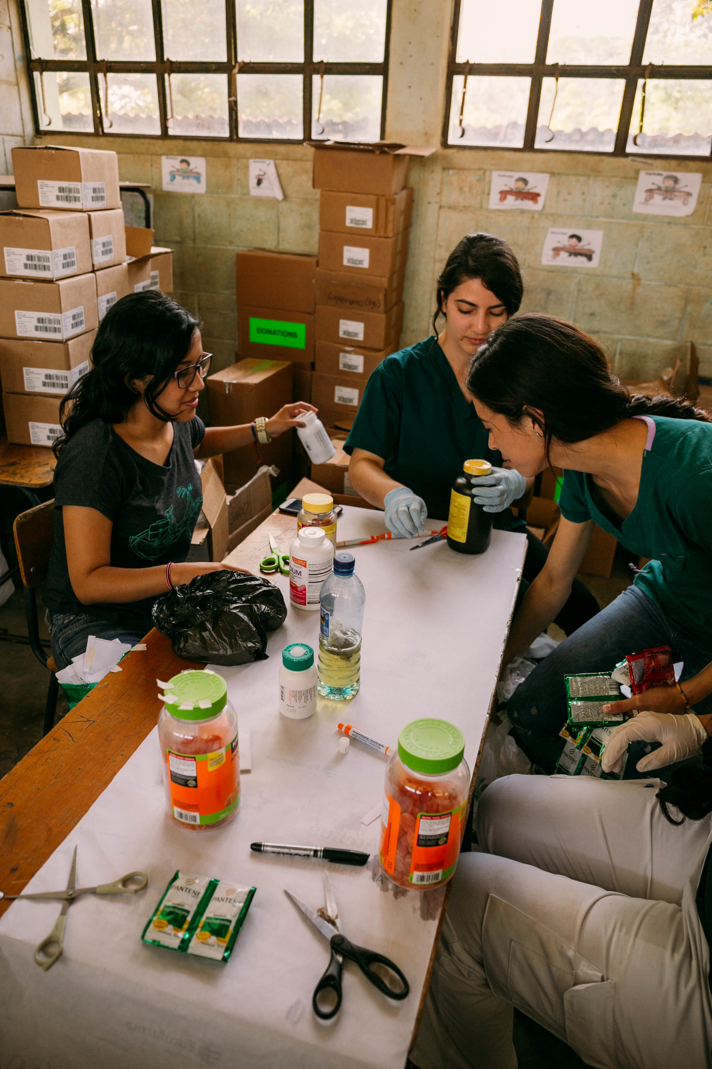 we were able to have a full pharmacy because of the donations received. these pharmacists who volunteered their time and skills, kept an inventory and gave prescriptions to the patients, free of cost.