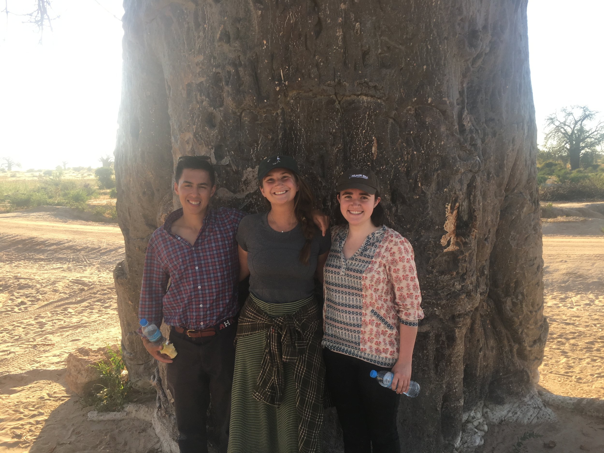 Visual reference of Katie and Xavier as we pose together in front of a gloriously thick Baobab tree.