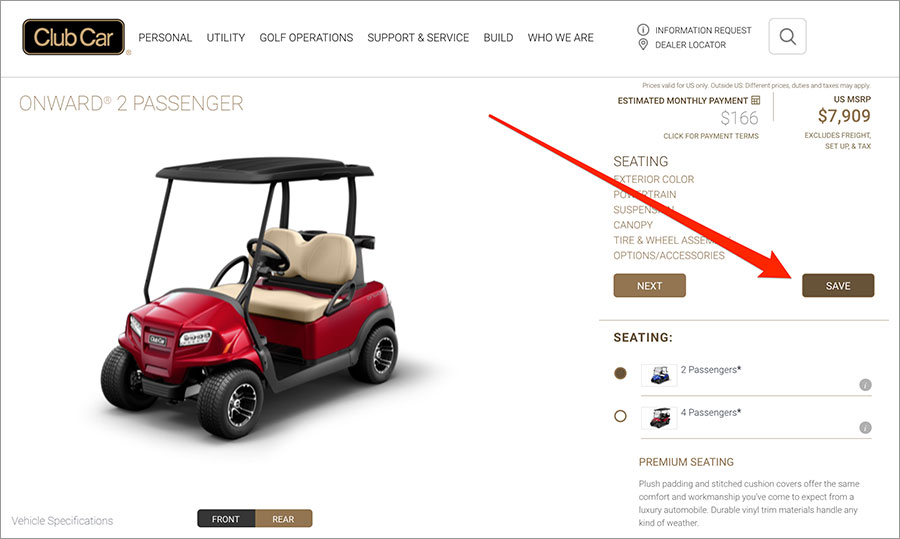 A 'Save' button is positioned at the top of the tool menu in ClubCar's online quoting application