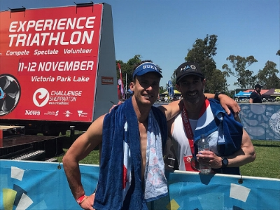 Brad and Ryan after completing Shepparton Half Ironman