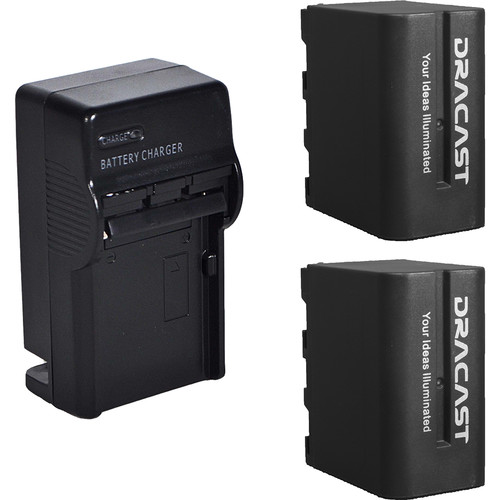 Dracast 2x NP-F 6600mAh Batteries and 1 Charger Kit