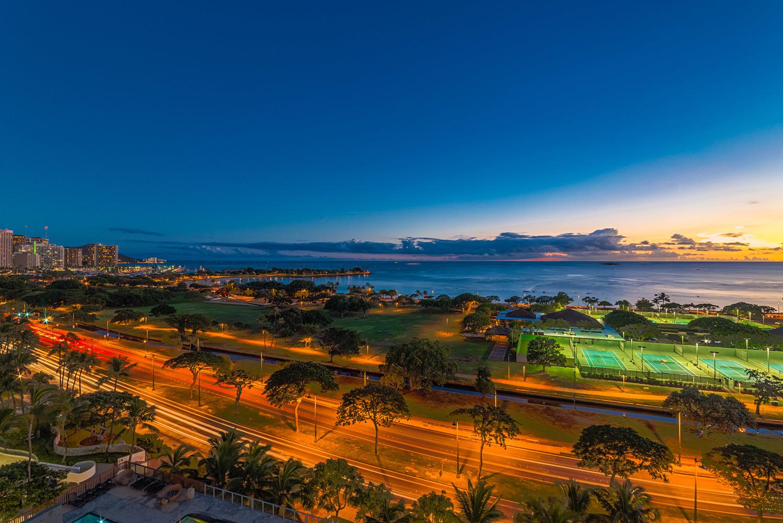 "View of Ala Moana Beach Park, dubbed Honolulu's ""Crown Jewel"" park."