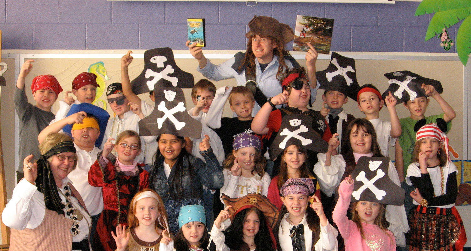 Robert Sams during and Author Visit about A Pirate's Quest