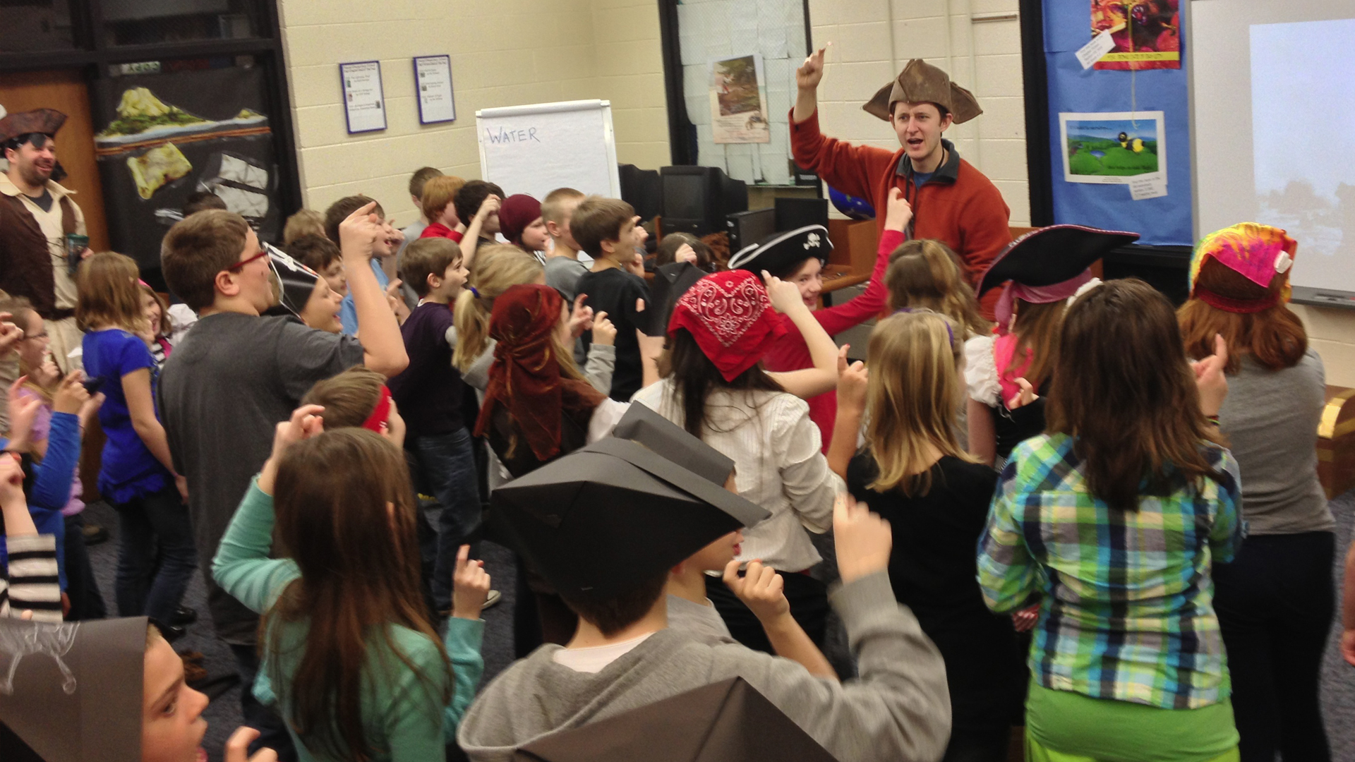Laura and Robert Sams visit a Michigan school for a Pirate-themed Reading Month
