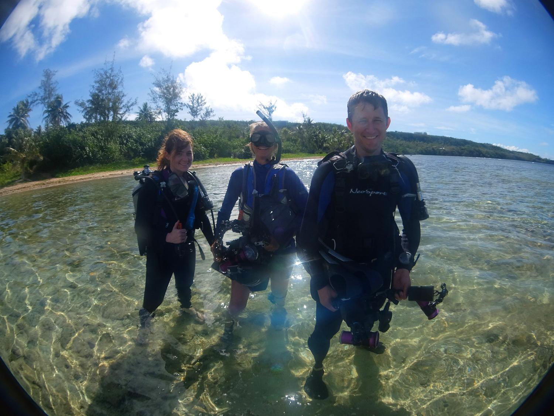 Laura Sams, Stephani Gordon and Robert Sams filming turtles in Saipan.