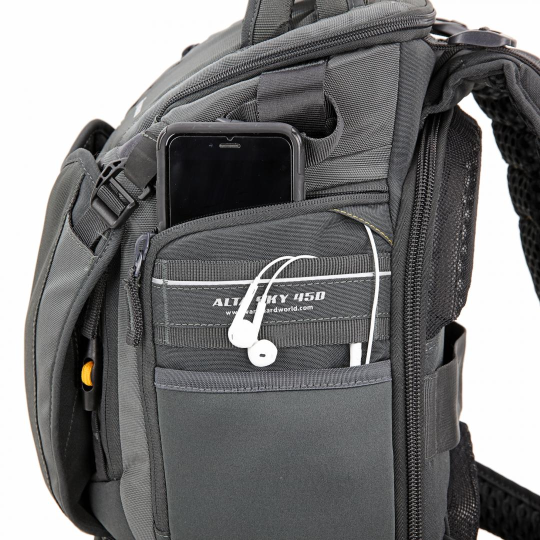 - Looking around the bag there are lots of little pockets to store smaller items, a pocket for your mobile phone with a headset port for the cable to pass through to the outside meaning your can walk and listen to your music.