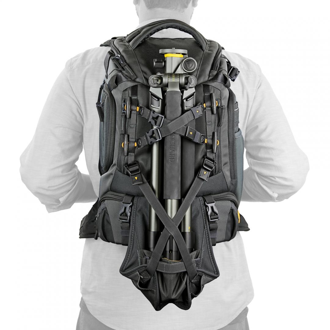 - On the front of the bag is a curious flap with a rain cover stowed within that folds down to reveal two cross straps obviously to strap a tripod to with the legs going in the pocket of the flap making it really secure. The flap can also apparently be used to strap a drone to the outside too! We shall see!