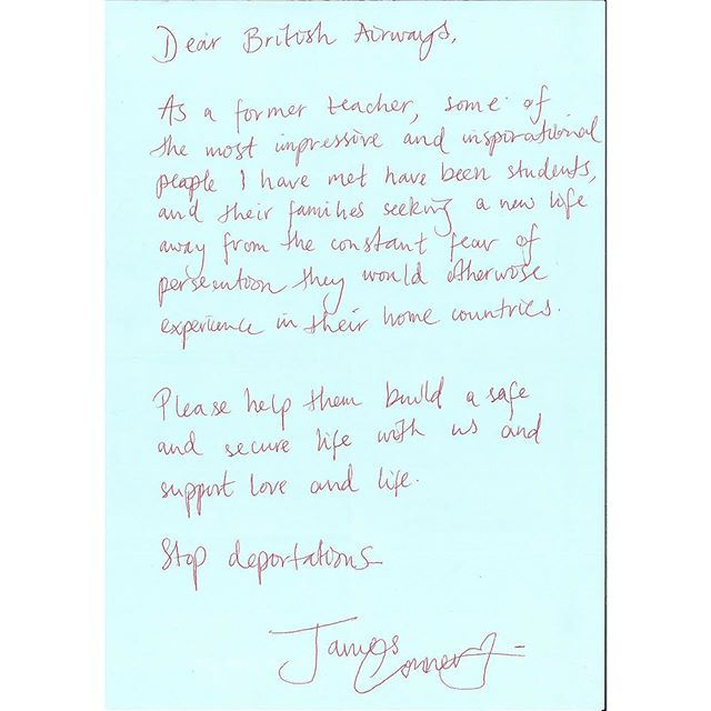 """#DearBA """"Support love and life. Stop deportations"""" James  #BA100 #stopdeportations @british_airways"""
