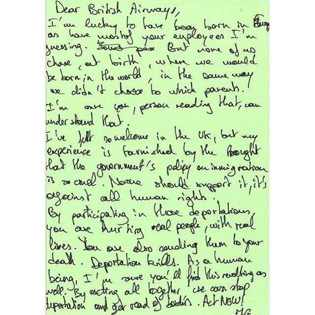 """#DearBA """"None of us chose, at birth, where we would be born in the world"""" by M.G. #BA100 #stopdeportations @british_airways"""