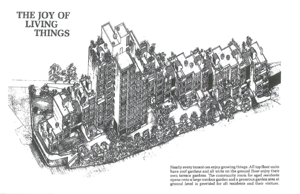 An original marketing illustration for Sirius, as seen in a pamphlet for the NSW Housing Commission in the 1980s'.