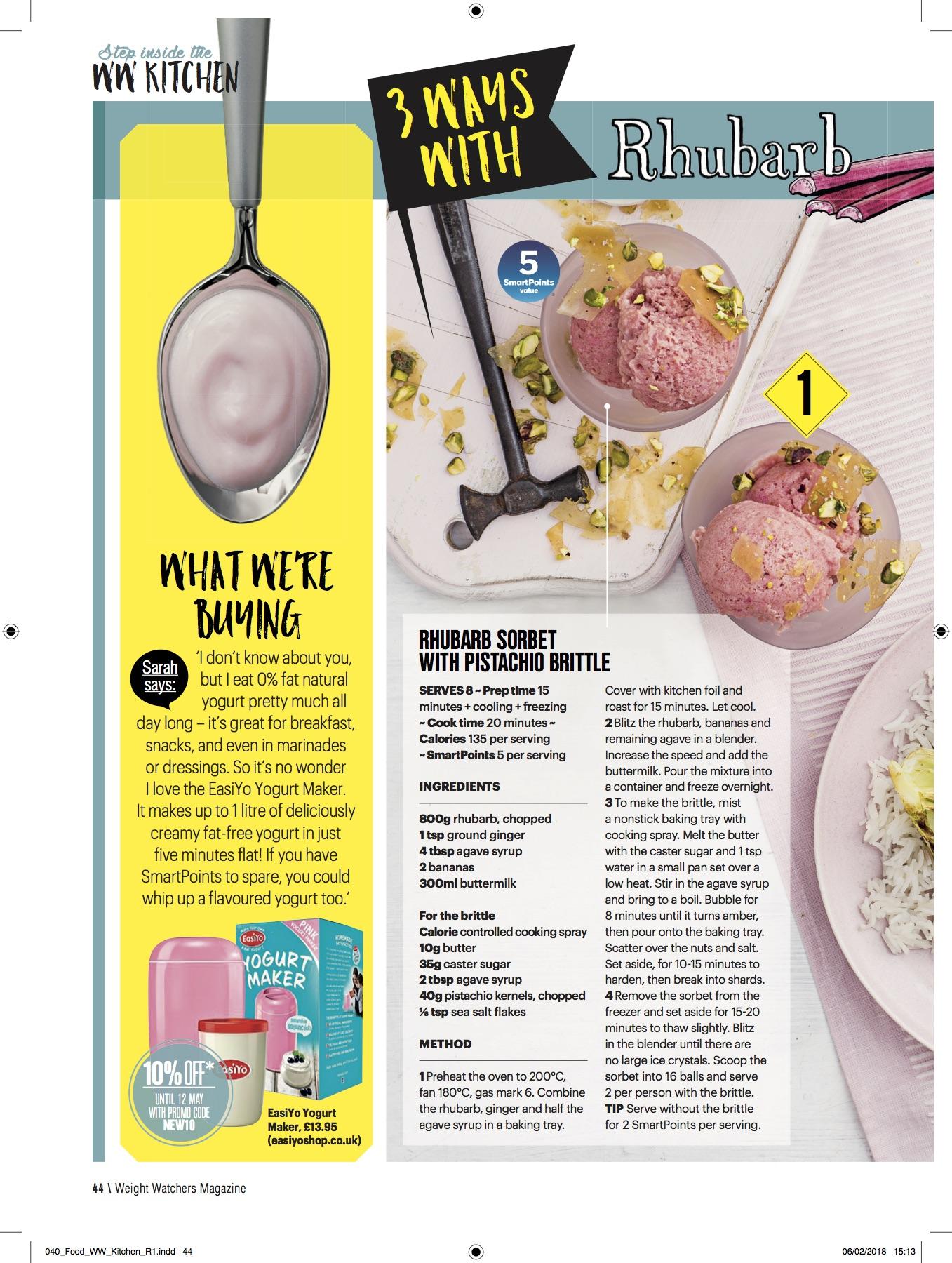 Publication: Weight Watchers magazine April 2018  Photographer: Ant Duncan  Food stylist: Vicky Smallwood  Prop stylist: Tonia Shuttleworth