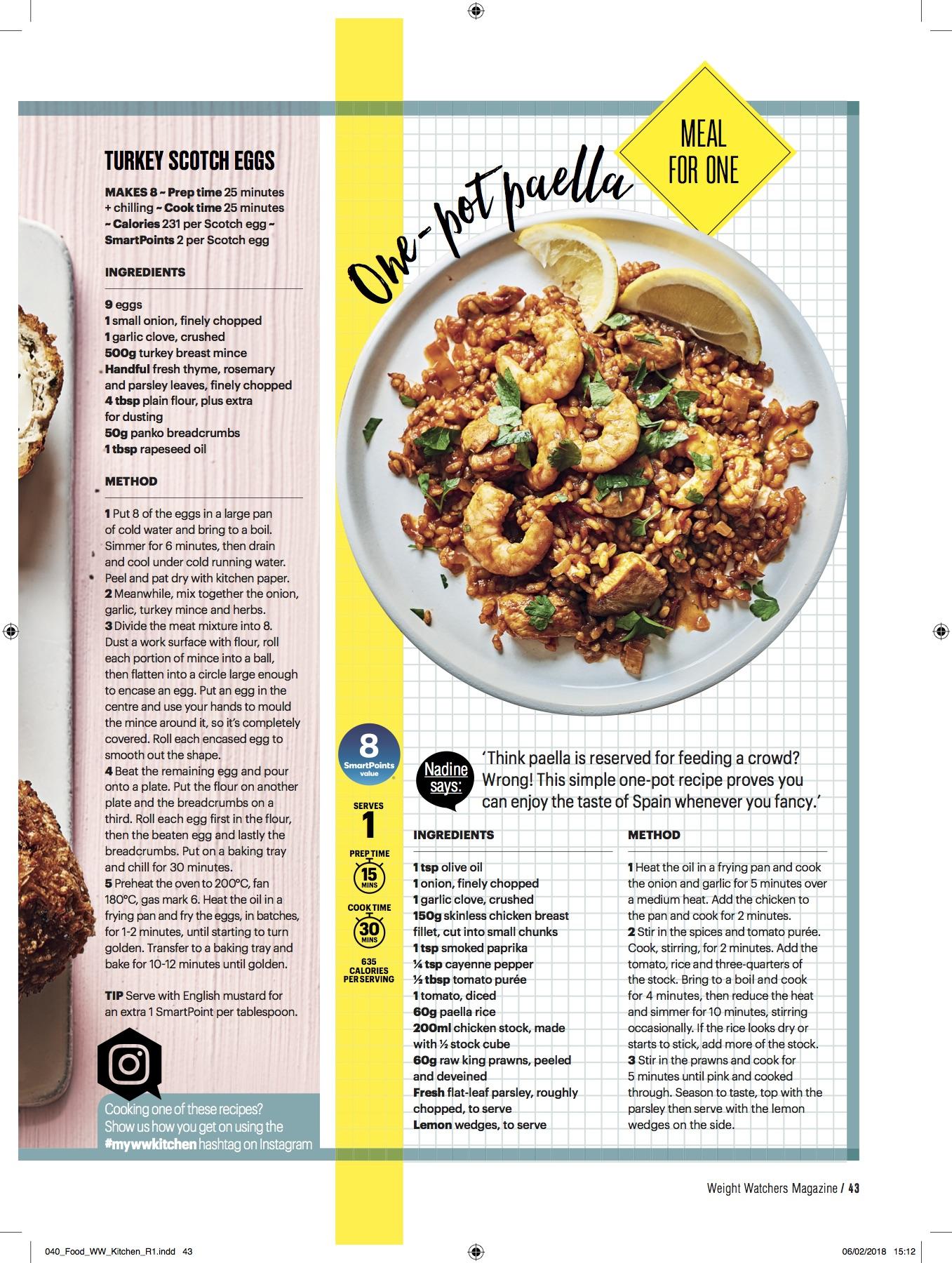 Publication: Weight Watchers magazine April 2018  Photographer: Ria Osborne  Food stylist: Ella Tarn  Prop stylist: Rebecca Newport