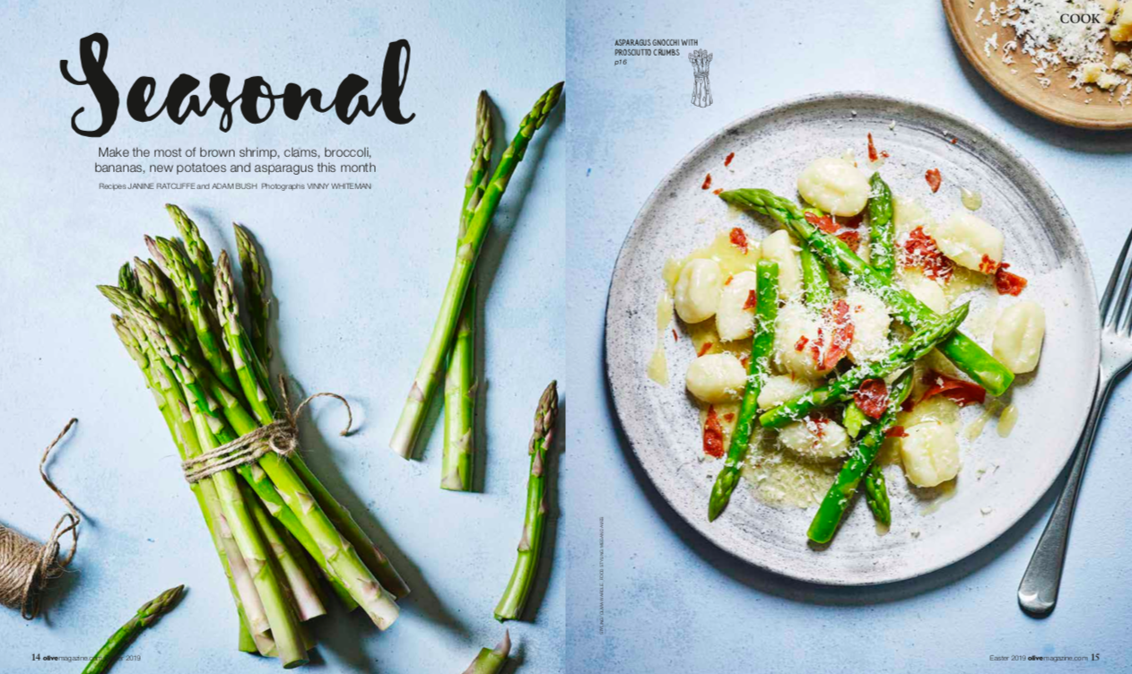 Publication: Olive Magazine Easter Issue 2019  Photographer: Vinny Whiteman  Props: Olivia Wardle  Art direction and design: Jack Huntley  Recipes: Janine Ratcliffe and Adam Bush