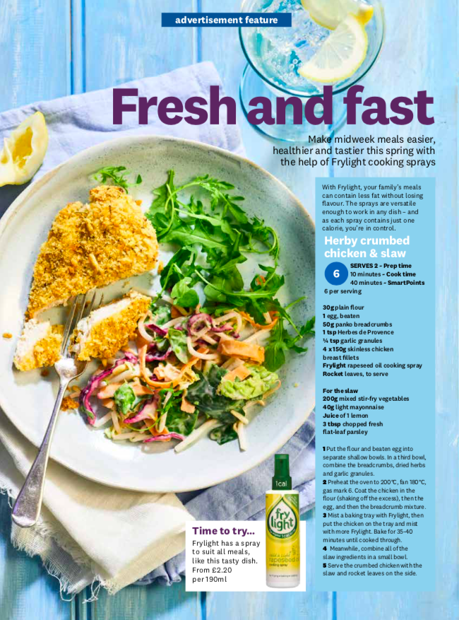 Publication: Weight Watchers Magazine March issue 2019  Photographer: Clare Miller  Props and art direction: Seven advertorial team  Recipe and styling: Megan Davies