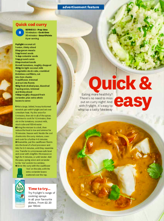 Publication: Weight Watchers Magazine April issue 2019  Photographer: Clare Miller  Props and art direction: Seven advertorial team