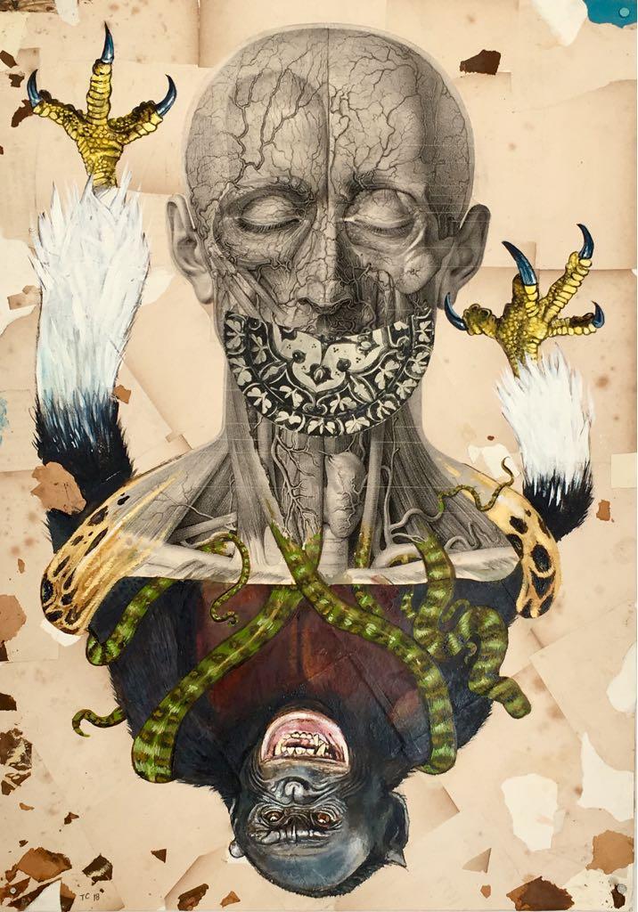 Troels Carlsen, Faculties #3, 2018,  Acryl auf Collage aus alten Drucken, 50 x 35 cm