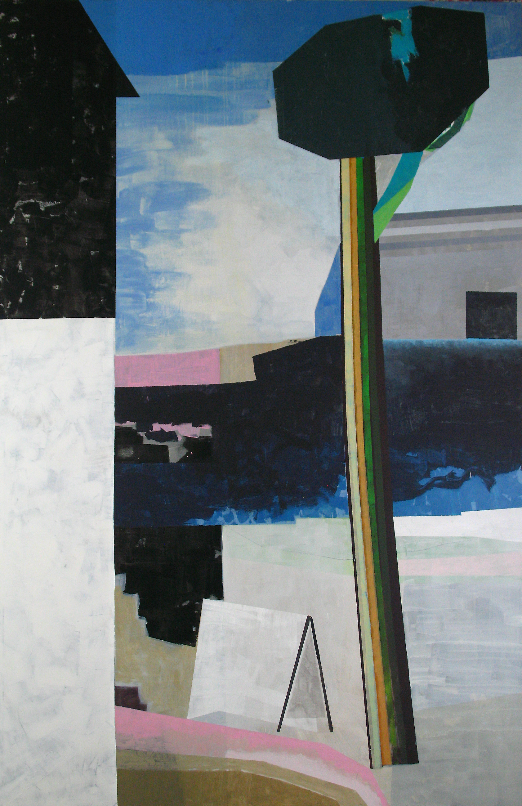 OLIVER GRÖNE,  Il pino sul mare , 2017, Öl und Acryl auf Leinwand, 220 × 145 cm