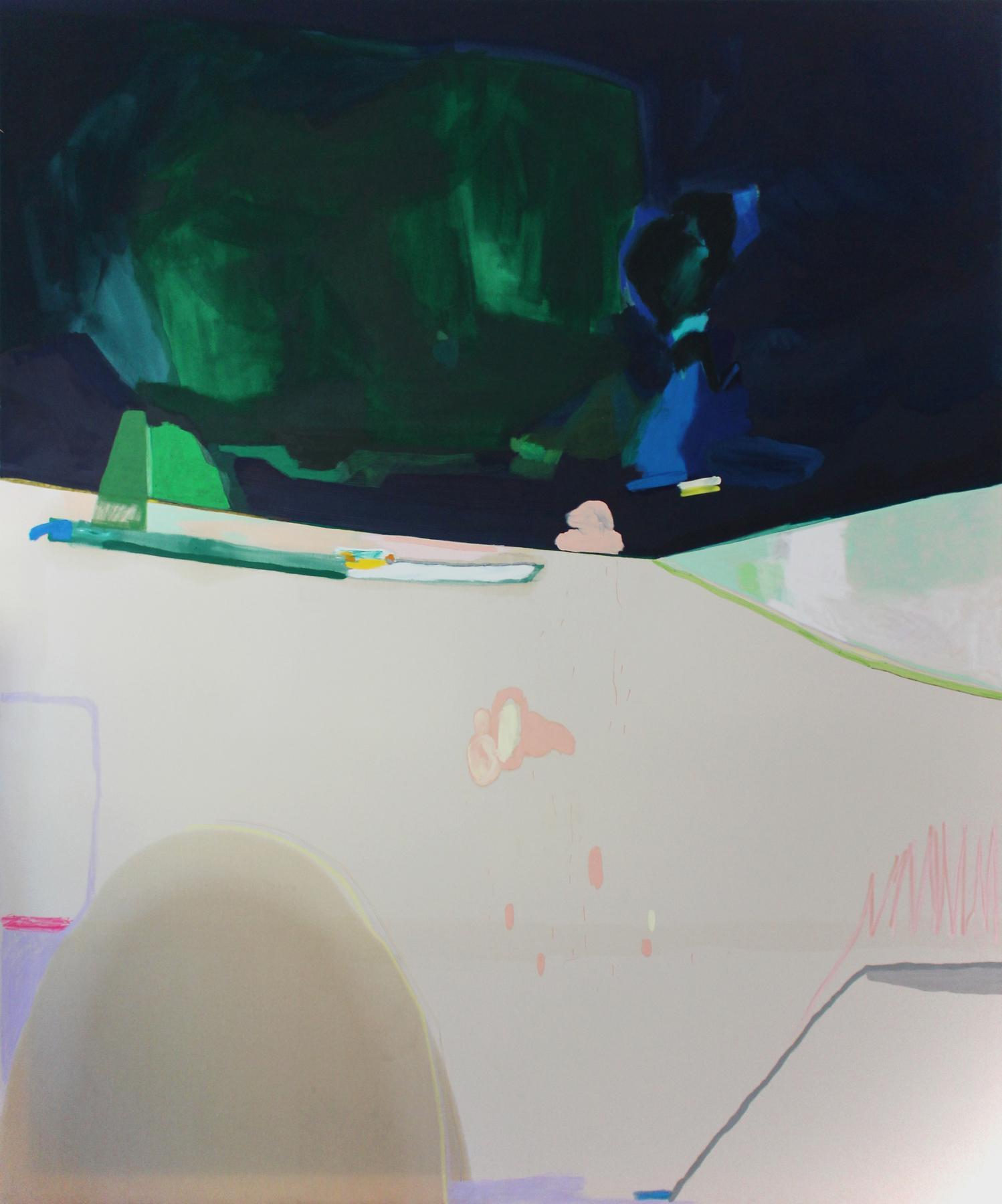 CHARLENE HAHNE,  Heavy Rain , 2017, Leinöl, Ölfarbe, Öl- pastellkreiden,Buntstift und Filzstift auf Leinwand, 240 × 200 cm