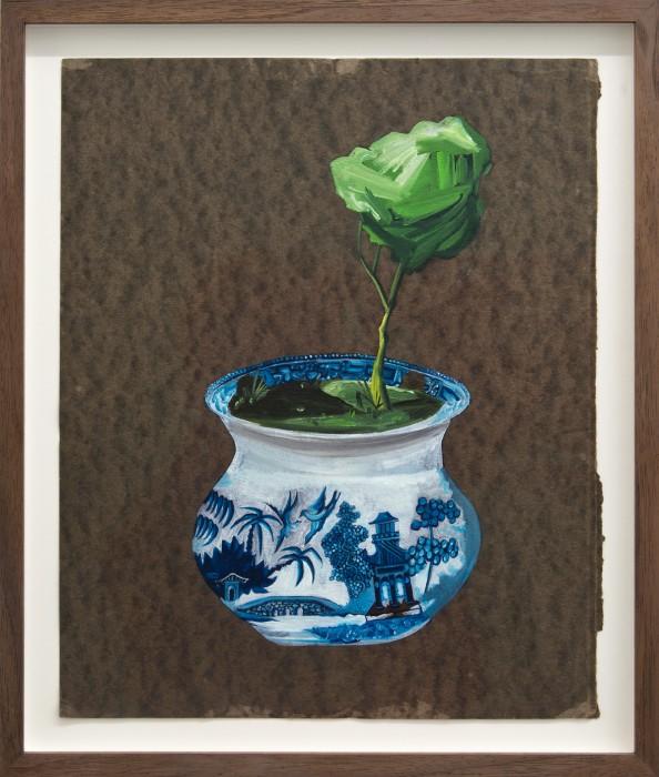 DAVID EAGER MAHER, Chamber Pot, 2017, Öl auf gefundenem Papier, 33 x 27 cm