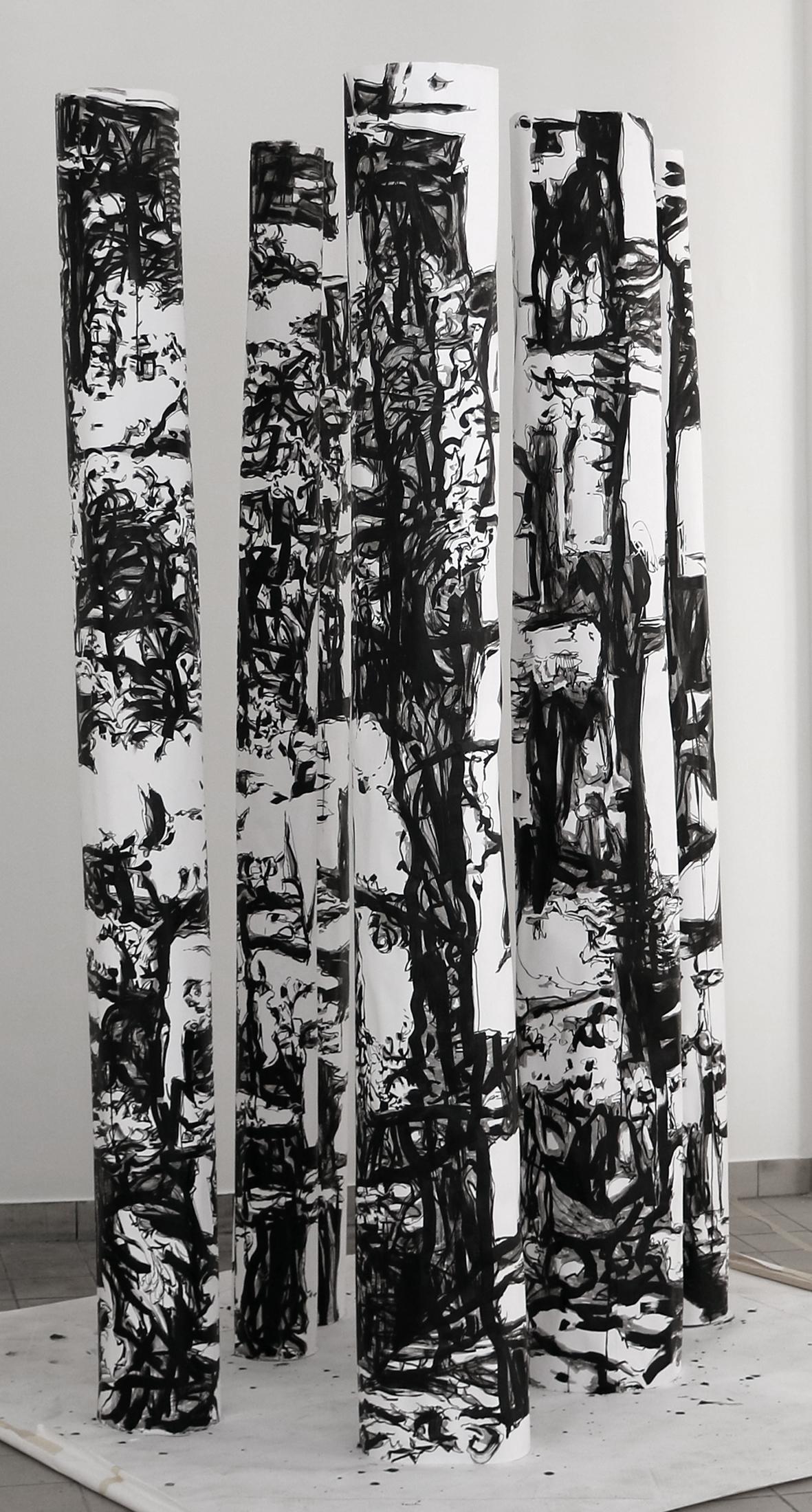 SABINE BANOVIC, Point of Vanishing, 2016, Installation, Mischtechnik auf Papierrollen, variable Größe