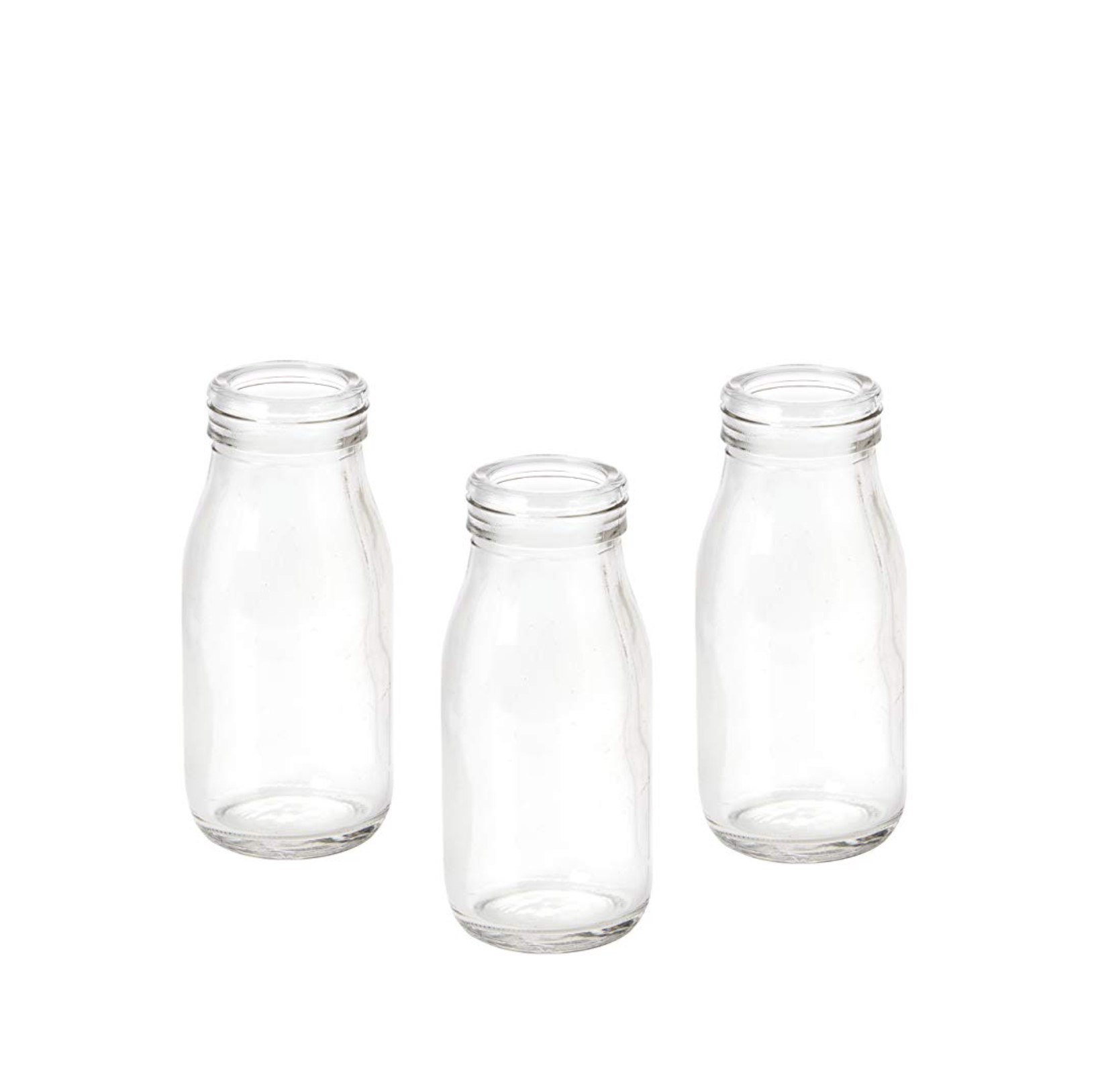 MINI GLASS MILK BOTTLES  14cm height approx