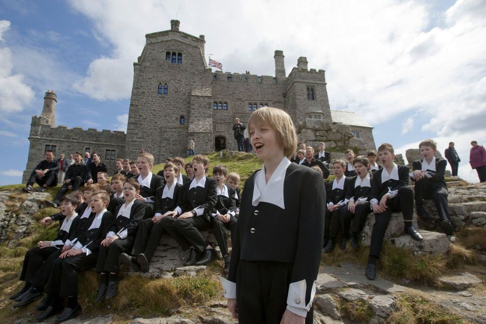 St Petersburg Boys Choir at St Michael's Mount to launch the 2017 Cornwall International Male Choral Festival (photo by Phil Monckton)