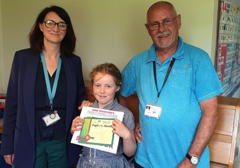 Ezme with Head of Mawnan School, Mrs Jilly Pridmore and her teacher the inimitable Mr Andy Bilham