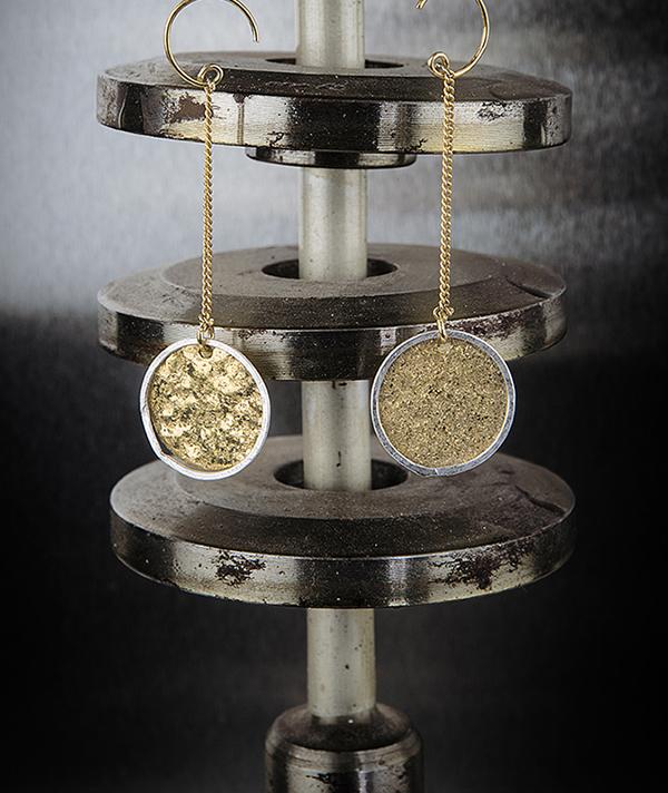 Boucles d'oreilles, bicolore médaille martelée, bijou bohème