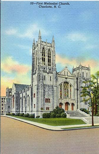A 1952 postcard featuring First Methodist.