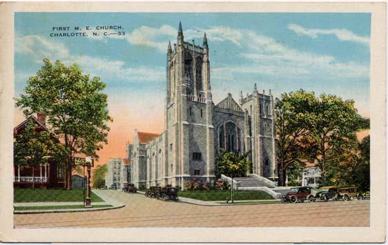 A 1953 postcard featuring First Methodist.