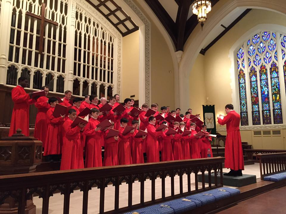 The Saint Thomas Choir of Men and Boys from Saint Thomas Church, Fifth Avenue, New York, performing a concert in the First Methodist sanctuary.