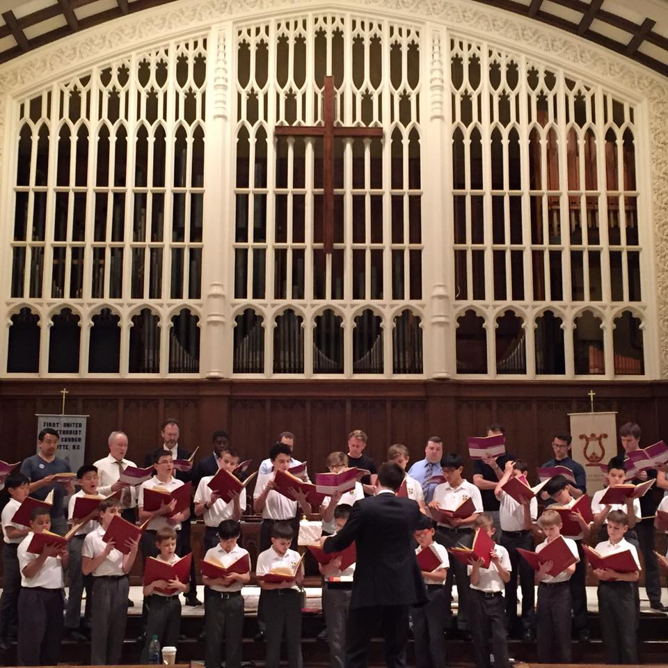 The Saint Thomas Choir of Men and Boys rehearsing.