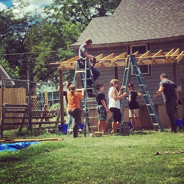 Youth from First United Methodist and other local churches building a roof during the 2016 Carolina Cross Connection Charlotte Mission Trip.