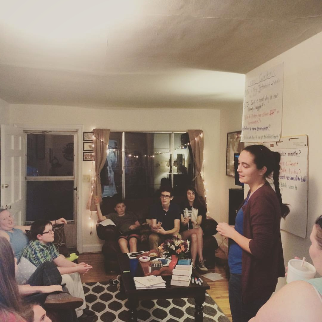 Youth and young adults tackling the tough questions of life at Sunday Supper Club.