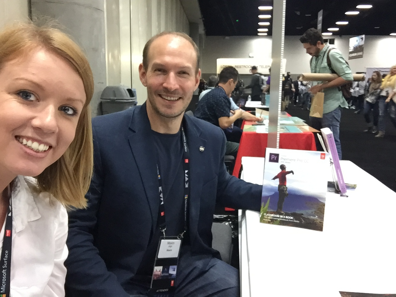 Premiere Gal and Maxim Jago at his Premiere Pro book signing in the #AdobeMax Exhibit hall.