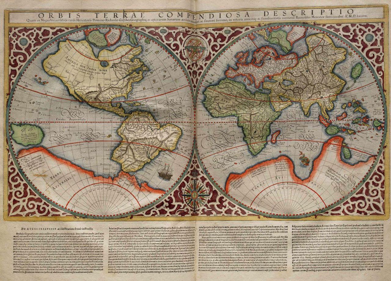 Planisphere made by Rumold Mercator, 1587.