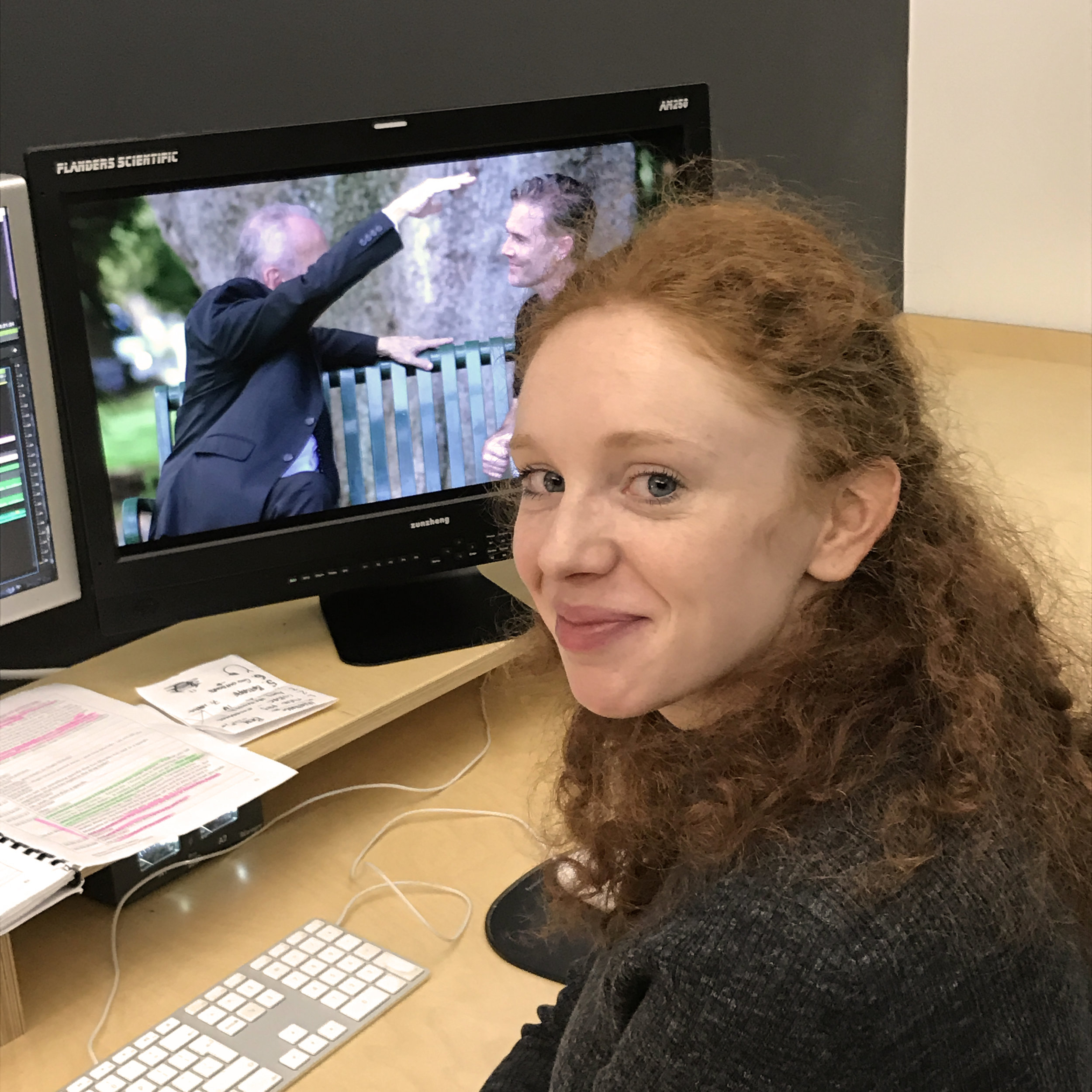 Katie Walters at her editing station.