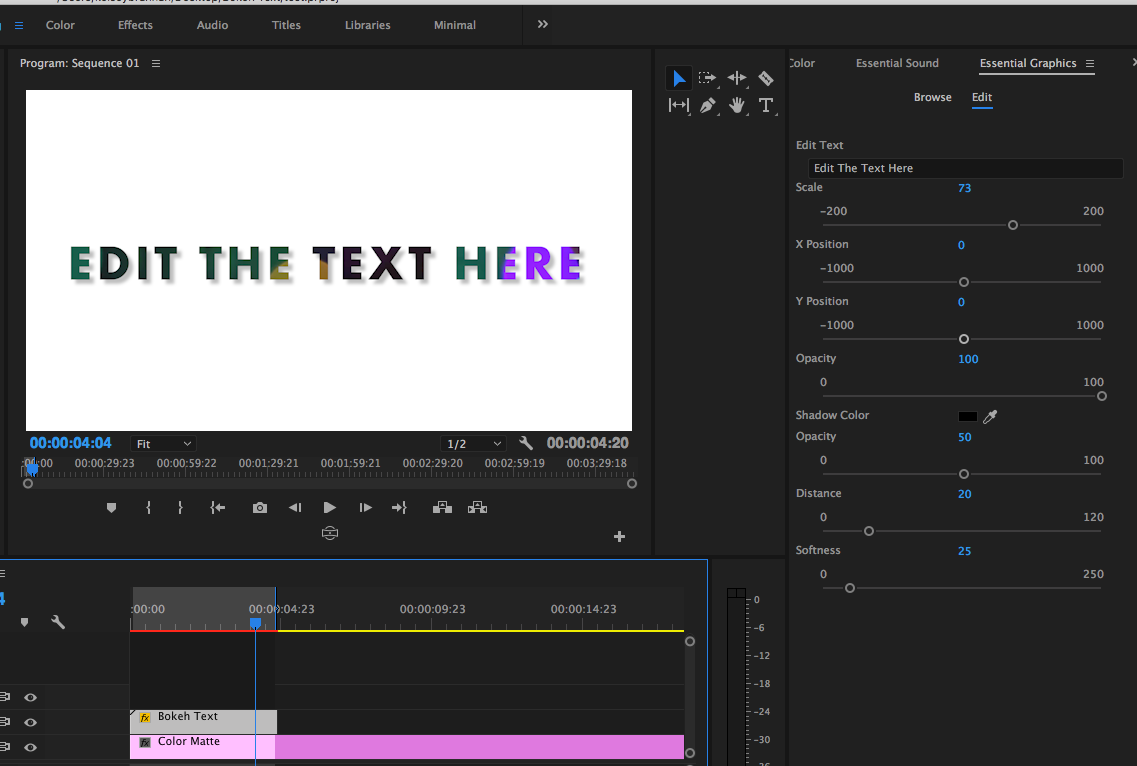 Bokeh Text Template for Adobe Premiere Pro