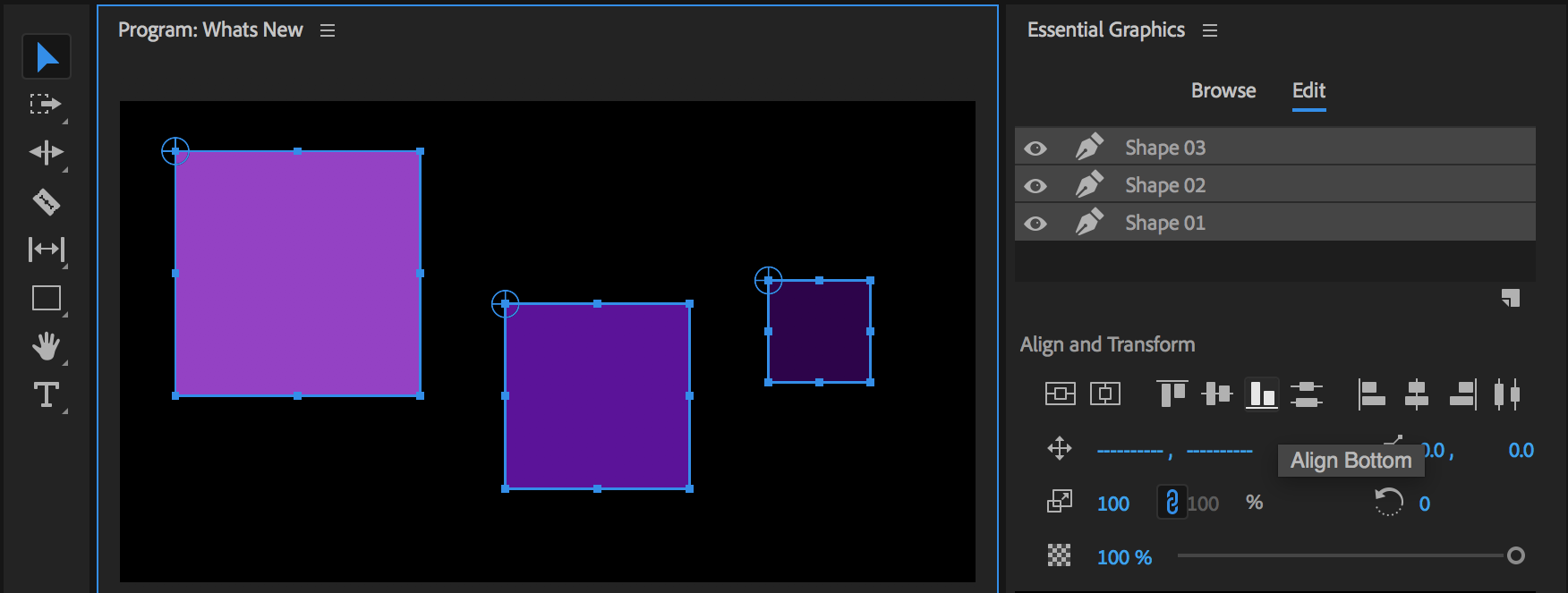 Align and distribute layers in the Essential Graphics Panel from  helpx.adobe