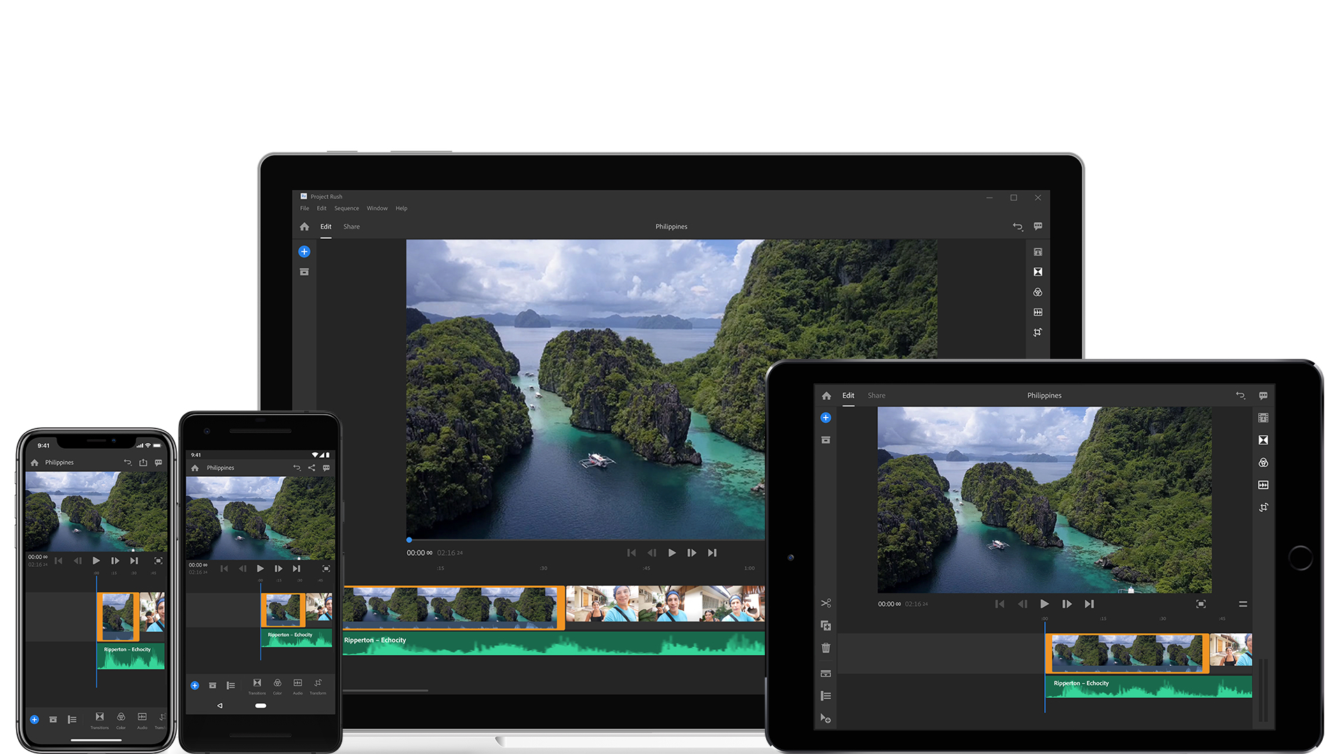 Project Rush can be used seamlessly across devices through Adobe Creative Cloud.