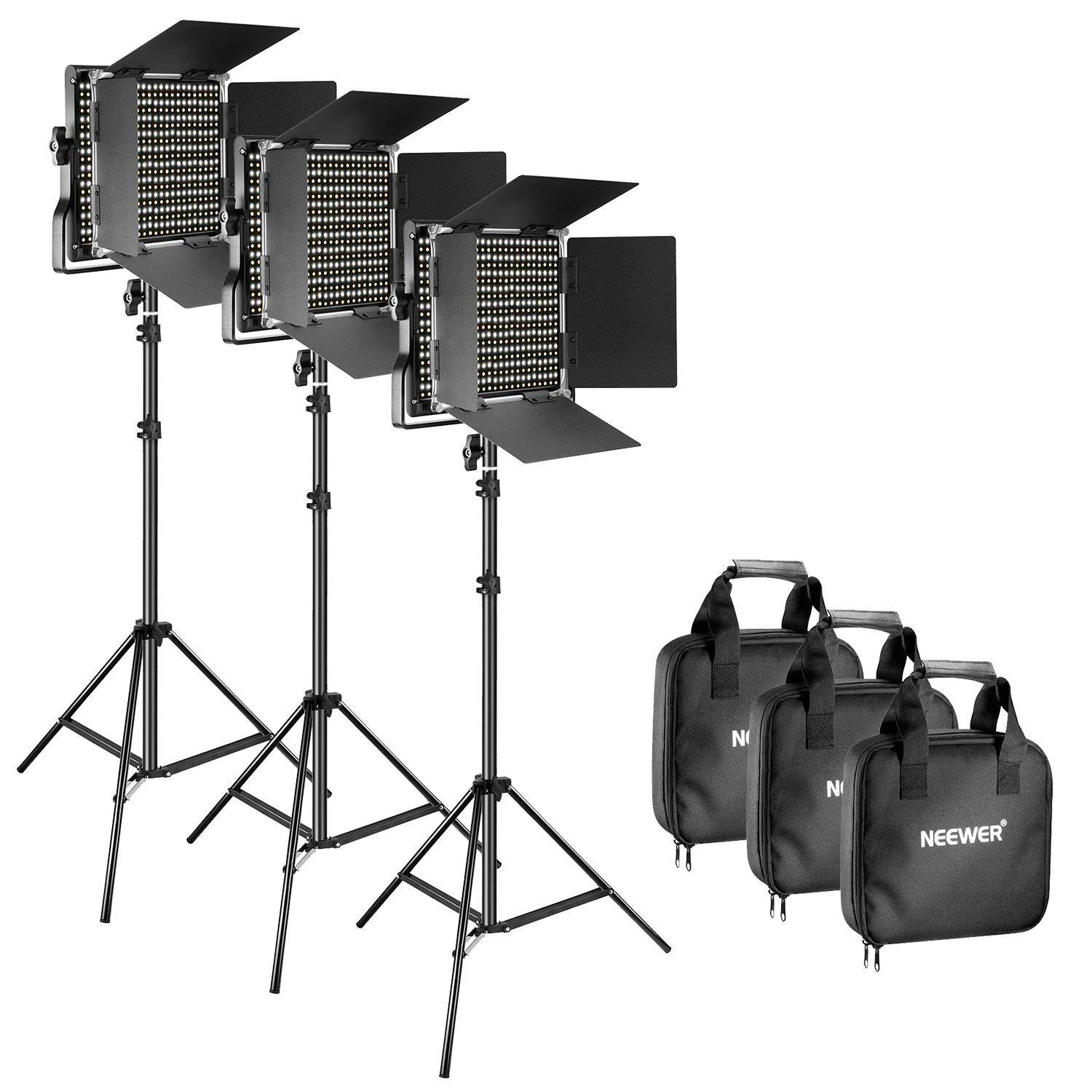 Neewer 3 Piece Bi-Color 660 LED Video Light and Stand Lit, $279,94 on Amazon.