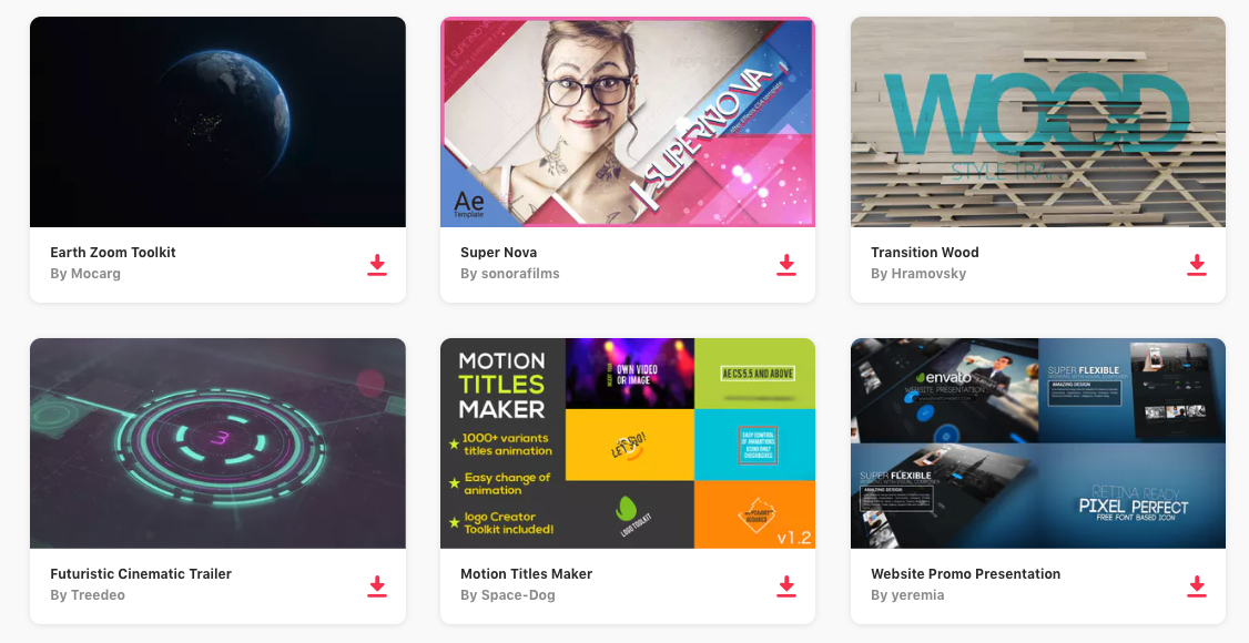 Try these  Envato Elements video templates . Get unlimited templates, photos, stock video for a small monthly fee.