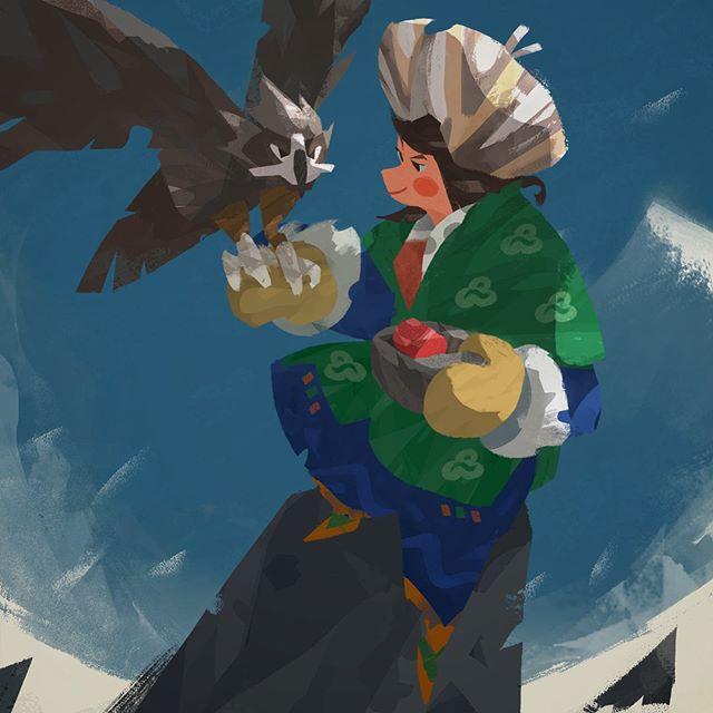 好久沒參加CDChallenge了,這個月主題是Eagle Hunter😊 - This is my CDChallenge entry for August. An eagle hunter feeding moment. - #originalcharacterart #characterdesignchallenge #cdchallenge #illustration #eagle #eaglehunter #sketch #digitalart #artwork #artistsoninstagram