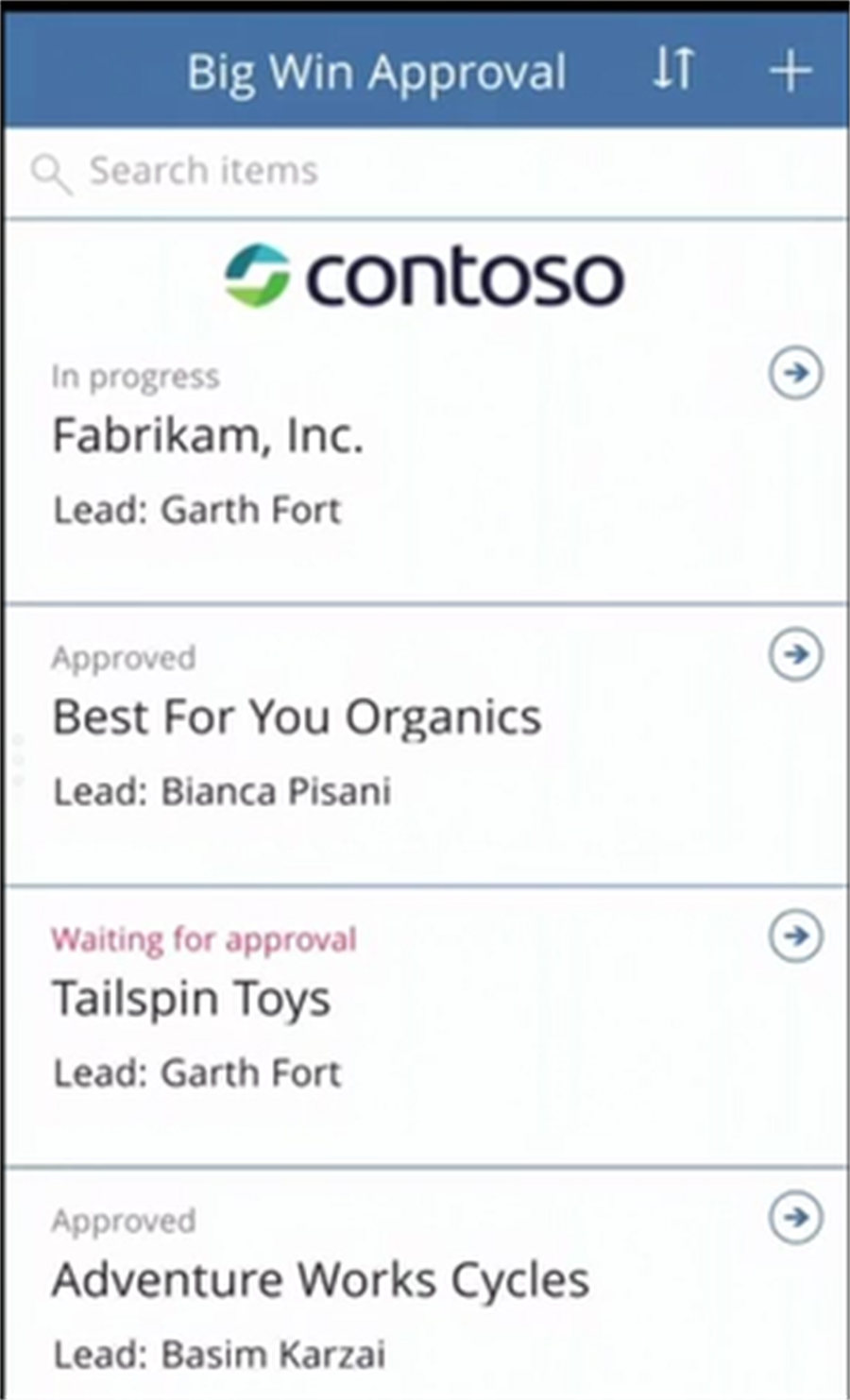 Mobile access to PowerApp created, that shows data from your SharePoint List (connected to CRM possible through Flow)
